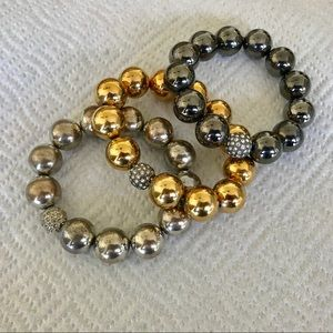 3 Beaded Stretch Bracelets Silver Gold & Gunmetal
